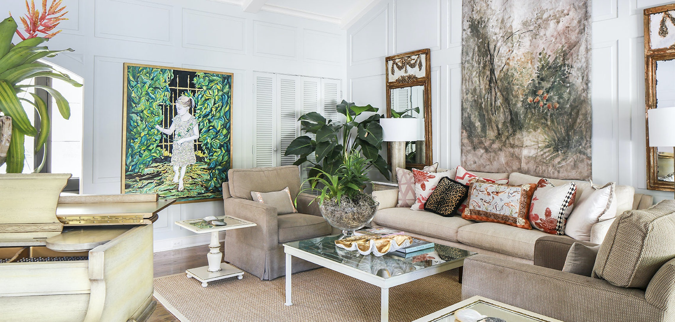 Kristin designed the living room around a grand piano that originally belonged to her grandmother the large scale artworks in this vaulted ceiling space
